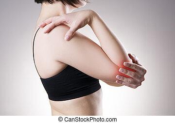 corpo, donna, dolore, umano, elbow.
