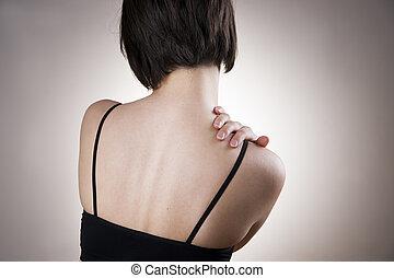 corpo, donna, dolore, umano, shoulder.