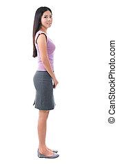corpo donna, giovane, vista, pieno, lato, asiatico