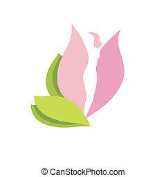 corpo, donna, silhouette, germoglio fiore