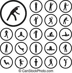 corpo, esercizio, icona