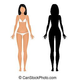 corpo, femmina, sagoma