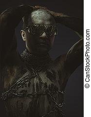 corpo, filo, dipinto, occhiali, vernice, nero, pelle, bianco, uomo, catene, bdsm