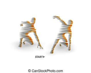 corpo, filo, exercise., corridore, atleta, simbolo., race., sport, inizio, vettore, model., umano, pronto, posizione, illustration., sport, cominciando, 3d