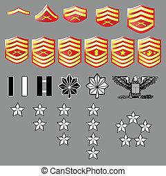 corpo fuzileiros navais e. u., grau, insignia