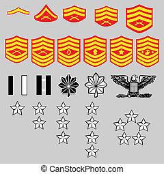 corpo, grau, nós, insignia, marinho