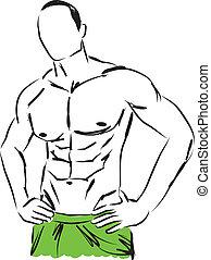 corpo, illustrat, uomo, work-out, idoneità