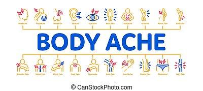 corpo, infographic, bandiera, vettore, dolore, minimo