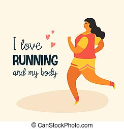 corpo, lifestyle., positive., più, attivo, ragazza, formato, felice