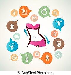 corpo, magro, vita, icone, collezione, infographics, idoneità, cura