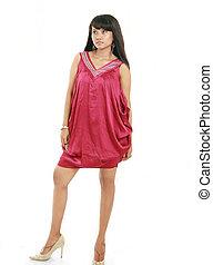 corpo, modello, pieno, femmina asiatica