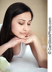 corpo mulher, beleza, face., portrait., pele, spa, concept., cuidado