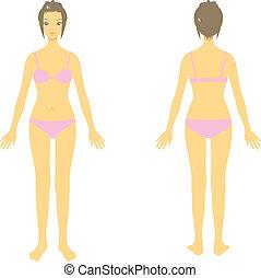 corpo mulher, inteiro, corporal