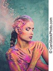 corpo mulher, jovem, arte, conceitual, colorido, bonito