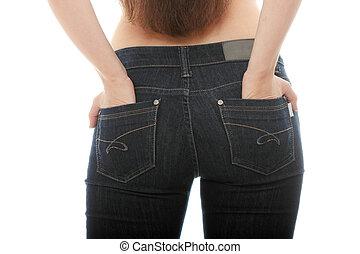 corpo mulher, jovem, caucasiano, calças brim