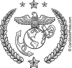 corpo, nós, insignia, marinho, militar