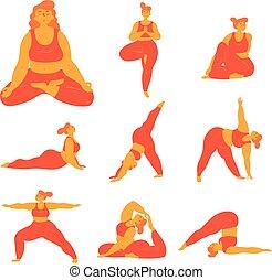 corpo, più, poses., formato, positivo, donna, yoga