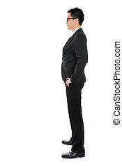 corpo, pieno, affari, asiatico, vista, lato, uomo