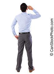 corpo, pieno, asiatico, uomo affari, vista posteriore