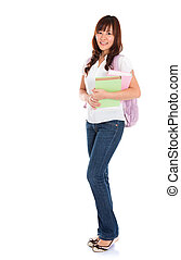 corpo, pieno, femmina asiatica, studente