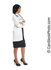 corpo, pieno, fondo, dottore, indiano, femmina, bianco, vista laterale