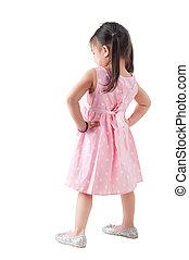 corpo, pieno, ragazza asiatica, vista posteriore
