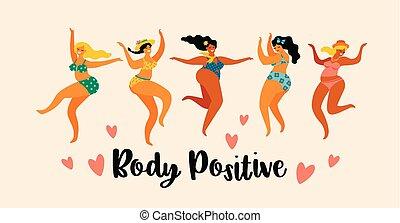 corpo, positive., ballando., ragazze, più, formato, felice