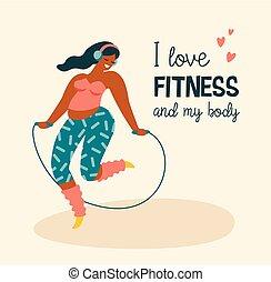 corpo, positive., felice, più, formato, ragazza, e, attivo, lifestyle.