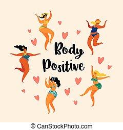 corpo, positive., felice, più, formato, ragazze, ara, ballando.