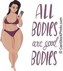 corpo, positivo, concept., girl., più, formato, felice
