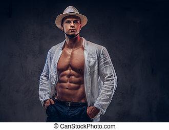 corpo, sbottonato, camicia, panama, hat., muscolare, ritratto, sexy, tipo, bianco, bello