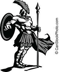 corpo, scudo, lancia, spartan, illustrazione, vettore, mascotte