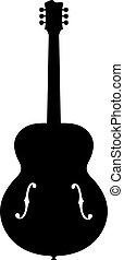 corpo, silhouette, f, jazz, fori, cavo, chitarra