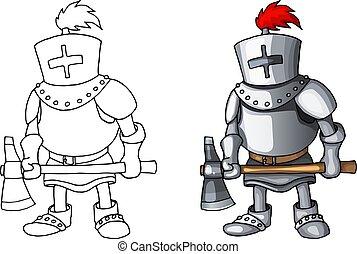 corpo, standing, pieno, colorito, armatura, cavaliere, completo, carattere, vettore, ascia, cartone animato