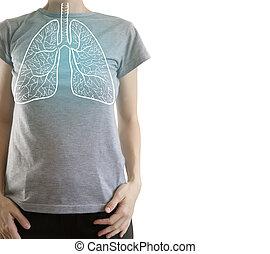 corpo, stile di vita, evidenziato, polmoni, blu, donna, /, sano