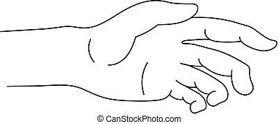 corpo, stile, tuo, contorno, isolato, illustrazione, mano, porzione, fondo., vettore, parte, icona, bianco, simbolo., design.