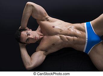 corpo, strappato, pavimento, giovane, muscolare, attraente, uomo