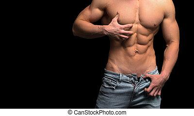 corpo, suo, esposizione, sanità, isolato, muscolare, idoneità, black., concept., uomo