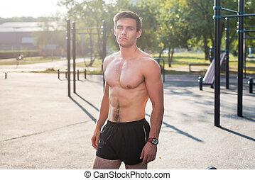 corpo, suo, fitnes, esposizione, muscolare, strada, proposta, idoneità, stazione, uomo