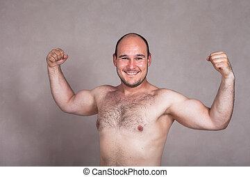 corpo, suo, shirtless, proposta, uomo, forte, esposizione, felice