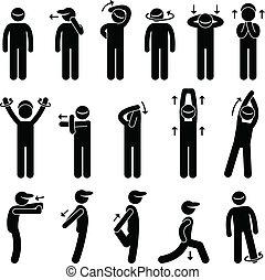 corpo, tendendo esercizio, icona