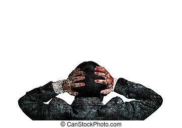 corpo, testa, suo, sporco, tenere mani, uomo affari, vista posteriore