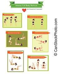 corpo, workout., pieno, intenso