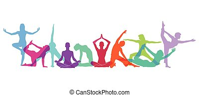 corpo, yoga, figure, composizione