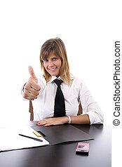 corporación mercantil de mujer, actuación, arriba, pulgares, feliz