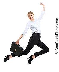 corporación mercantil de mujer, arriba, joven, saltar, wear., feliz, formal