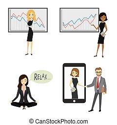 corporación mercantil de mujer, carácter, aislado, blanco, plano de fondo