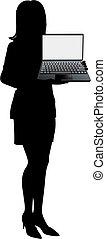 corporación mercantil de mujer, computador portatil, ...