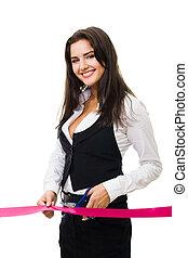 corporación mercantil de mujer, corte, cinta roja, feliz