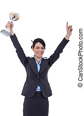 corporación mercantil de mujer, excitado, trofeo, ganando